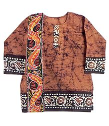 Brown Batik Kurta