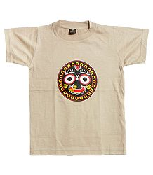 Printed Jagannathdev Face on Beige T-Shirt