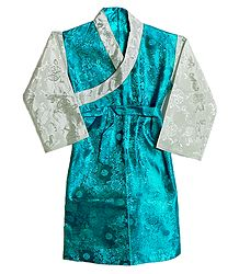 Cyan with White Brocade Silk Sikkimese Dress