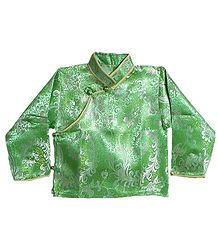Green with White Woven Brocade Silk Finish Full Sleeve Kurta