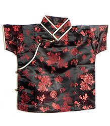 Black with Red Woven Brocade Silk Finish Short Sleeve Kurta