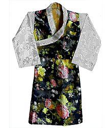 Black with White Brocade Silk Dress