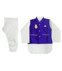 Modi Dress - White Cotton Churidar Kurta with Raw Silk Purple Jacket