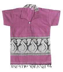 Dark Pink Half Sleeve Short Kurta with Baluchari Weaved Design