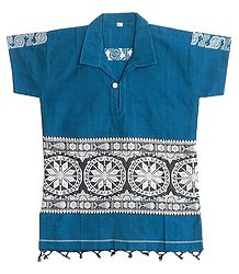 Cyan Blue Half Sleeve Short Kurta with Baluchari Weaved Design