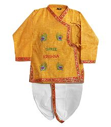 Krishna Print on Saffron Dhoti and Kurta
