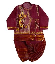 Embroidered Red Kurta and Ready to Wear Dhoti for Baby Boy
