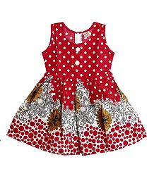 Printed Red Cotton Sleeveless Frock