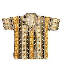 Off-White Half Sleeve Cotton Short Kurta with Yellow, Black and Brown Print