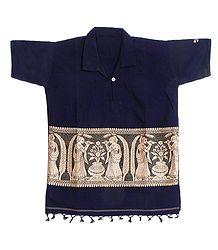 Dark Blue Half Sleeve Short Kurta with Baluchari Weave Design