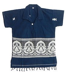 Dark Blue Half Sleeve Short Kurta with Baluchari Weaved Design