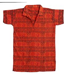 Saffron Half Sleeve Short Kurta with Om Print