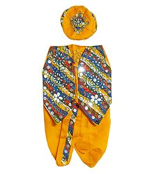 Yellow Dhoti, Cap and Jacket for Baby Boy