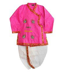 Peacock Feather Embroidery on Pink Kurta with White Pyjama Dhoti
