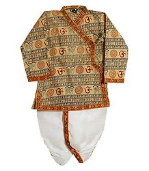 Light Beige Om Print Kurta with White Pyjama Dhoti