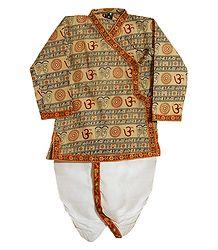 Light Beige Om Print Kurta with White Pyjama Dhoti
