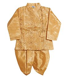 Beige Art Silk Dhoti Kurta for Baby Boy
