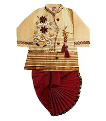 Embroidered Beige Cotton Kurta and Ready to Wear Dhoti