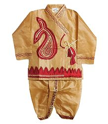 Embroidered Beige Tussar Kurta and Stitched Dhoti for Baby Boy