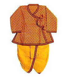 Ready to Wear Yellow Dhoti and Printed Blue Kurta for Baby Boy