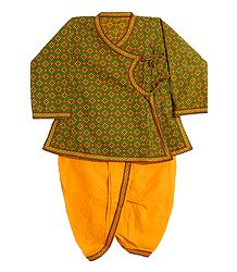 Ready to Wear Yellow Dhoti and Printed Green Kurta for Baby Boy