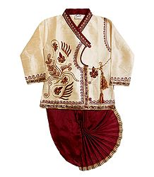 Red Art Silk Dhoti and Ivory Color Kurta for Baby Boy