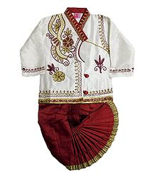 Embroidered White Kurta and Ready to Wear Dhoti