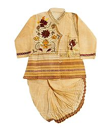 Embroidered Beige Kurta and Ready to Wear Dhoti