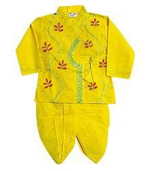 Embroidered Yellow Kurta and Ready to Wear Dhoti