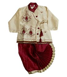 Embroidered Ivory Color Kurta and Ready to Wear Dhoti