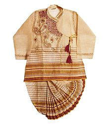 Embroidered Beige Color Kurta and Ready to Wear Dhoti