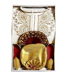 Embroidered White Cotton Kurta, Ready to Wear Maroon Dhoti, Golden Pagri and Shoe