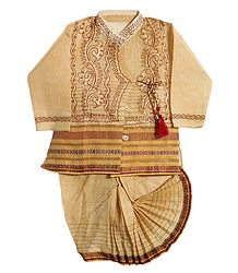 Embroidered Beige Kurta and Stitched Dhoti for Baby Boy