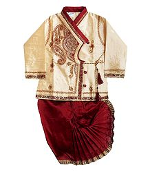 Embroidered Ivory Kurta and Stitched Maroon Dhoti for Baby Boy