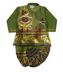 Buy Wide Zari Border Green Art Silk Kurta & Dhoti