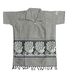 Light Grey Half Sleeve Short Kurta with Baluchari Weave Design