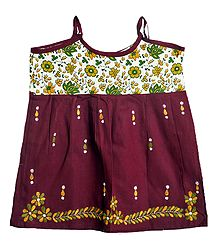 Shop Online Kantha Stitched Maroon Frock