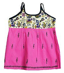 Kantha Stitched Pink Frock