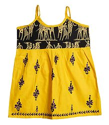 Kantha Stitched Yellow Frock