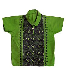 Green with Black Short Kurta with Kantha Stitch for Young Boy