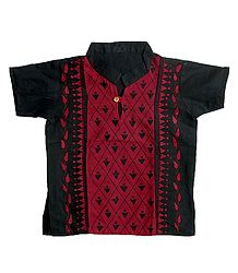 Black with Red Short Kurta with Kantha Stitch for Young Boy