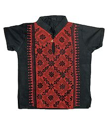 Black with Brick Red Short Kurta with Kantha Stitch for Young Boy