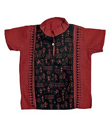Brick Red with Black Short Kurta with Kantha Stitch for Young Boy