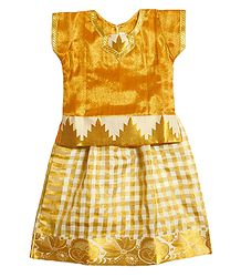 Golden Check Cotton Ghagra Choli for Baby Girl