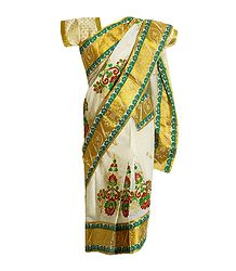 Embroidered Ready to Wear Cotton Kasavu Sari for Baby Girl