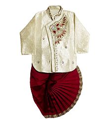 Ready to Wear Stitched Dhoti and Embroidered White Kurta
