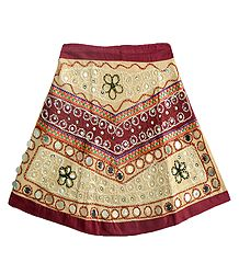 Buy Online Beige Cotton Lehenga