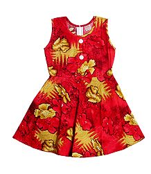 Red with Yellow Flower Print on Cotton Frock