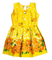Floral Print on Yellow Cotton Sleeveless Frock