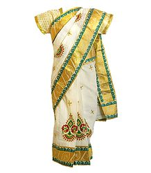 Embroidered Ready to Wear Cotton Sari for Young Girl